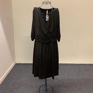New with Tags, Black Ruched dress, 1XP